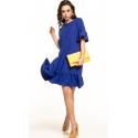 Sukienka midi z krótkim rękawem w kolorze chabrowym T315