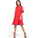 Sukienka midi z krótkim rękawem w kolorze malinowym T315
