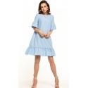 Sukienka midi z krótkim rękawem w kolorze jasno niebieskim T315