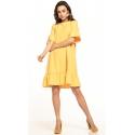 Sukienka midi z krótkim rękawem w kolorze żółtym T315