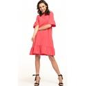 Sukienka midi z krótkim rękawem w kolorze koralowym T315