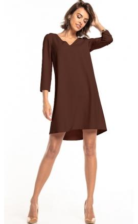 Sukienka z kontrafałdą Tessita T322 brąz