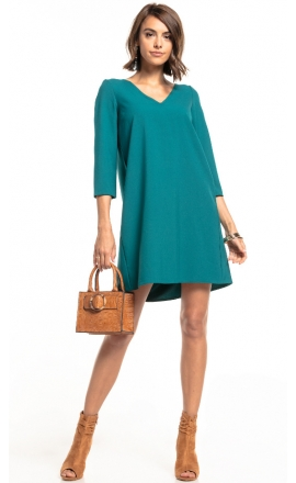 Sukienka z kontrafałdą Tessita T322 szmaragd