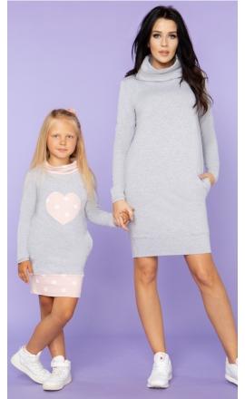 Sukienka dresowa z półgolfem Córka Tessita MMD23 kropki komplet