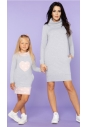 Sukienka dresowa z pólgolfem Tessita MMM23 jasno szara