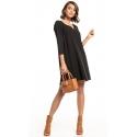 Sukienka z kontrafałdą na plecach kolor czarny T322